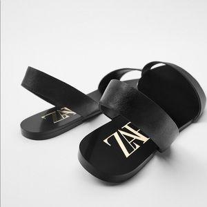 Zara Shoes - Zara black flat leather sandals